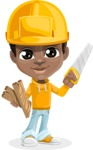 African American School Boy Cartoon Vector Character AKA Jorell - Under Construction