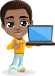 African American School Boy Cartoon Vector Character AKA Jorell - Laptop 2