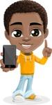 African American School Boy Cartoon Vector Character AKA Jorell - Smartphone