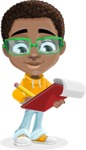 African American School Boy Cartoon Vector Character AKA Jorell - Taking Notes