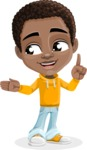 African American School Boy Cartoon Vector Character AKA Jorell - Show 2