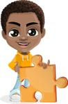 African American School Boy Cartoon Vector Character AKA Jorell - Puzzle