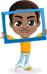 African American School Boy Cartoon Vector Character AKA Jorell - Frame