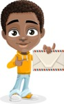African American School Boy Cartoon Vector Character AKA Jorell - Letter