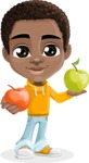 African American School Boy Cartoon Vector Character AKA Jorell - Apples