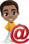 African American School Boy Cartoon Vector Character AKA Jorell - Mail
