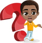 African American School Boy Cartoon Vector Character AKA Jorell - Question