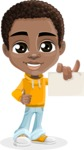 African American School Boy Cartoon Vector Character AKA Jorell - Sign 6