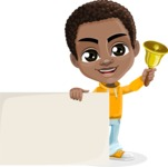 African American School Boy Cartoon Vector Character AKA Jorell - Sign 7