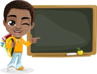 African American School Boy Cartoon Vector Character AKA Jorell - Presentation 4