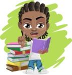 Cute African American Boy Cartoon Vector Character AKA Mason the Cool Boy - Shape 9