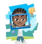 Cute African American Boy Cartoon Vector Character AKA Mason the Cool Boy - Shape 12
