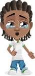 Cute African American Boy Cartoon Vector Character AKA Mason the Cool Boy - Sad 2