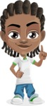 Cute African American Boy Cartoon Vector Character AKA Mason the Cool Boy - Attention