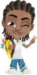 Cute African American Boy Cartoon Vector Character AKA Mason the Cool Boy - Backpack