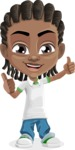 Cute African American Boy Cartoon Vector Character AKA Mason the Cool Boy - Thumbs Up