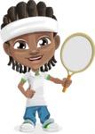 Cute African American Boy Cartoon Vector Character AKA Mason the Cool Boy - Tennis