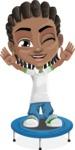 Cute African American Boy Cartoon Vector Character AKA Mason the Cool Boy - Trampoline