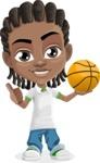 Cute African American Boy Cartoon Vector Character AKA Mason the Cool Boy - Basketball