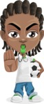 Cute African American Boy Cartoon Vector Character AKA Mason the Cool Boy - Soccer
