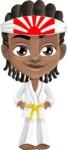 Cute African American Boy Cartoon Vector Character AKA Mason the Cool Boy - Karate