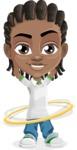 Cute African American Boy Cartoon Vector Character AKA Mason the Cool Boy - Hoop