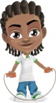 Cute African American Boy Cartoon Vector Character AKA Mason the Cool Boy - Skipping Rope