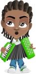 Cute African American Boy Cartoon Vector Character AKA Mason the Cool Boy - Music 2