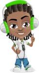 Cute African American Boy Cartoon Vector Character AKA Mason the Cool Boy - Music 3
