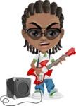 Cute African American Boy Cartoon Vector Character AKA Mason the Cool Boy - Music 4