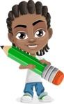 Cute African American Boy Cartoon Vector Character AKA Mason the Cool Boy - Pencil