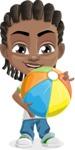 Cute African American Boy Cartoon Vector Character AKA Mason the Cool Boy - Beach 1
