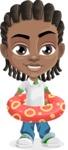 Cute African American Boy Cartoon Vector Character AKA Mason the Cool Boy - Beach 2