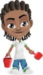 Cute African American Boy Cartoon Vector Character AKA Mason the Cool Boy - Beach 3