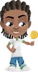 Cute African American Boy Cartoon Vector Character AKA Mason the Cool Boy - Candy