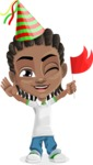 Cute African American Boy Cartoon Vector Character AKA Mason the Cool Boy - Party 1