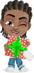 Cute African American Boy Cartoon Vector Character AKA Mason the Cool Boy - Gift