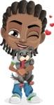 Cute African American Boy Cartoon Vector Character AKA Mason the Cool Boy - Puppy
