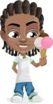 Cute African American Boy Cartoon Vector Character AKA Mason the Cool Boy - Ice Cream