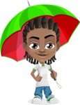 Cute African American Boy Cartoon Vector Character AKA Mason the Cool Boy - Umbrella