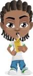 Cute African American Boy Cartoon Vector Character AKA Mason the Cool Boy - Shake
