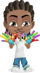 Cute African American Boy Cartoon Vector Character AKA Mason the Cool Boy - Fingerpainting