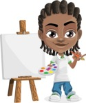 Cute African American Boy Cartoon Vector Character AKA Mason the Cool Boy - Painting