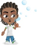 Cute African American Boy Cartoon Vector Character AKA Mason the Cool Boy - Soap Bubbles