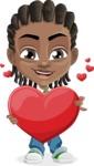 Cute African American Boy Cartoon Vector Character AKA Mason the Cool Boy - Love
