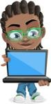 Cute African American Boy Cartoon Vector Character AKA Mason the Cool Boy - Laptop 1