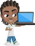 Cute African American Boy Cartoon Vector Character AKA Mason the Cool Boy - Laptop 2