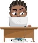 Cute African American Boy Cartoon Vector Character AKA Mason the Cool Boy - Laptop 3