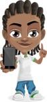Cute African American Boy Cartoon Vector Character AKA Mason the Cool Boy - Smartphone