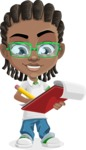 Cute African American Boy Cartoon Vector Character AKA Mason the Cool Boy - Taking Notes